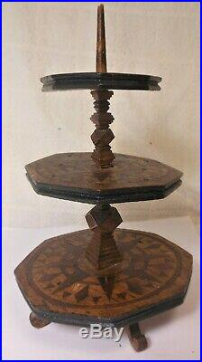 Fine Antique Sailors Love Token Sewing Thread Stand, Mariners Compass, Carved