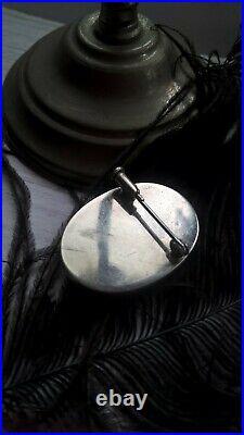 Fine Antique Solid Silver Carved Black & White Agate Cameo Profil Brooch