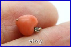 Fine Antique Victorian 14ct Gold & Carved Coral Heart Charm/Pendant A/F