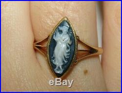 Fine, Antique Victorian 18 Ct Gold Carved Hardstone Cameo Ring