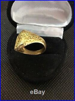 Fine Antique Victorian 18 K Y G Carved Signet/ Family Crest Ring Unisex