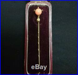 Fine Antique Victorian 9ct Yellow Gold Natural Carved Coral Stick Pin