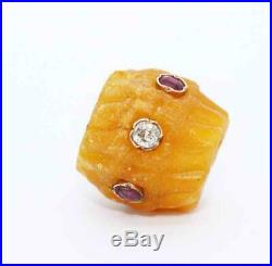 Fine Antique Victorian Carved Amber Bead Charm w Gold, Old Cut Diamonds & Rubies