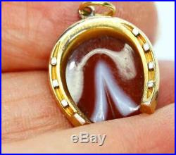 Fine Antique Victorian Carved Banded Agate & 18ct Gold Horseshoe Pendant/ Charm