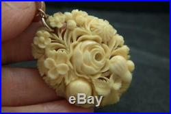 Fine Antique Victorian Carved Flower Pendant