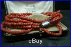 Fine Antique Victorian Double Strand Carved Coral Bead Necklace w Silver Clasp