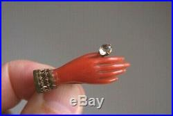 Fine Antique Victorian Gilt Metal Carved Coral Hand & Old Cut Paste Brooch Pin
