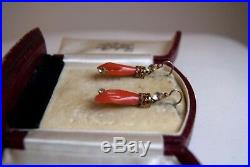 Fine Antique Victorian Gilt Metal Hanging Carved Coral Hand &old Paste Earrings