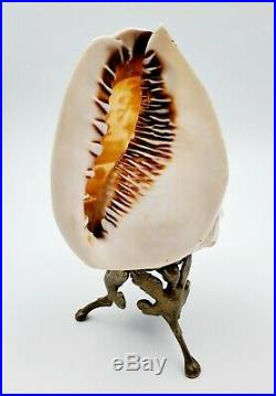 Fine Antique Victorian Italian Carved Cameo Conch Shell Lamp/Decor on Stand