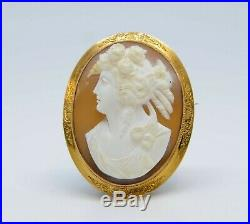 Fine Antique Victorian Large 9ct Gold Oval Carved Cameo Goddess Flora Brooch Pin