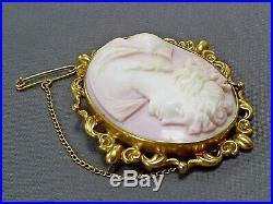 Fine Antique Victorian Ornate 9ct Gold Carved Pink Coral Cameo Brooch/a&c