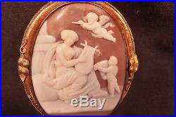 Fine Antique Victorian Real Carved Shell Cameo Set In 14 Kt Gold C 1880