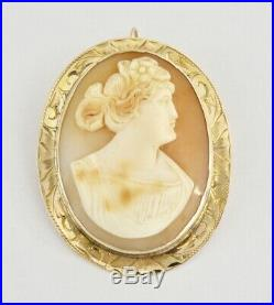 Fine Antique Vintage 10k Gold Carved Shell Cameo Brooch Pin Pendant