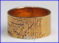 Fine Antique Vintage 14k Gold Engraved Carved Ring Landscape Rangeley Lake Maine