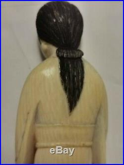 Fine Antique natural Kwan yin hand Carved chinese, With 14k Gold Pearl