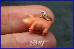 Fine Antique or Vintage Gold & Carved Coral Pig Charm/Pendant