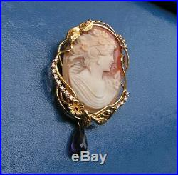 Fine Art Nouveau Carved Shell Cameo Antique Pendant SIGNED ITALY Purple Amethyst