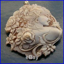 Fine Art Nouveau Carved Shell Cameo Antique Pendant SIGNED ITALY Yellow