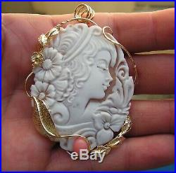 Fine Art Nouveau Carved Shell Cameo Antique Pendant SIGNED ITALY Yellow Pink Cor