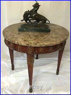 Fine Beautiful French Regency Style Round Marble Top Centre Living Room Table