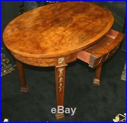 Fine Burr Walnut Carved Gilt Oval Centre Table c. 1860