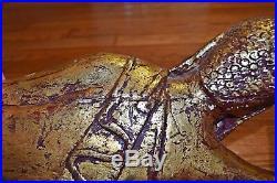 Fine CHINESE Thai BURMESE Carved WOOD Reclining BUDDHA Statue GOLD GILT 28 HUGE