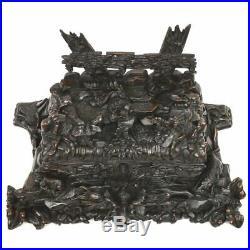 Fine Carved Antique Black Forest Decorative Hunt Scene Jewelry Box Dog & Rabbit