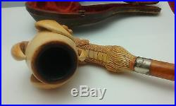 Fine Carved Antique France Meerschaum Pipe Decorative Draugon's claw with Case