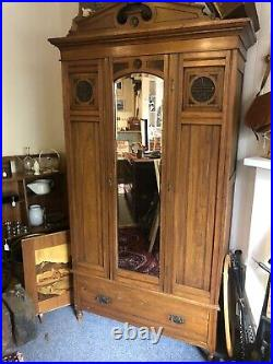 Fine Carved Antique Wood Wardrobe Bedroom Vintage Mirror