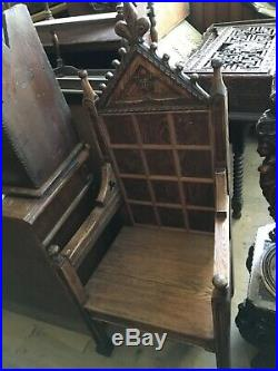 Fine Carved Neo Gothic Oak Cathedra Library Desk French Chateau Throne Chair