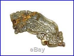 Fine Carved Old Chinese Eastern Zhou Tiger Head Jade Pendant Huang