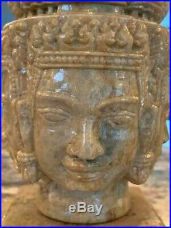 Fine Carved Stone Statue of Buddha Head Four Faces