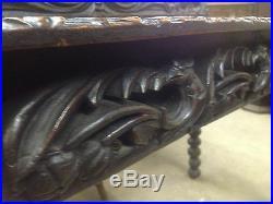 Fine Carved Victorian Oak Library Table Flemish Eagle Head PussyOak Phoenix Desk