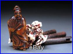 Fine Carving Noh actor NETSUKE w Key 18-19thC Japanese Edo Antique for INRO f689