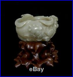 Fine Celadon Jade Carving of Lotus and Fish Late Qing Dynasty