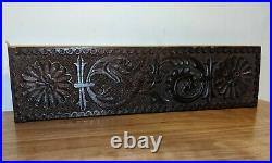 Fine Charles I Carved Oak Frieze Panel With Serpent And Flowers circa 1630