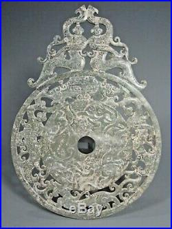 Fine China Chinese Carved Jade Bi Disk with Dancing Maidens Decoration Han Style