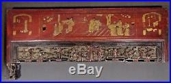 Fine China Chinese Carved Wood Gilt Lacquered Figural Scene Panel ca. 19th c