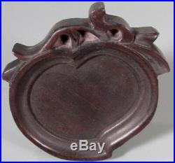 Fine China Chinese Carved Wood Peach Form Plaque Qing Dynasty Ca. 1900