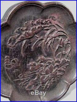 Fine China Chinese Carved Wood Plaque with Duck & Lotus Qing Dynasty Ca. 19th c