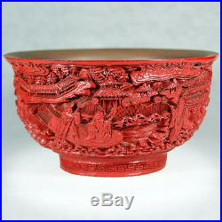 Fine Chinese 19th-20th Cen Carved Cinnabar-red Bowl