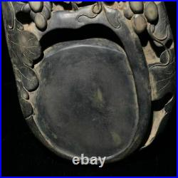 Fine Chinese Antique Hand Carved Grapes Duan Ink Stone YangGuLi Mark