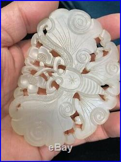 Fine Chinese Carved Jade LargeButterfly Pendant