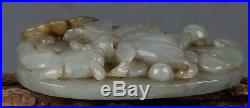 Fine Chinese Carved Lotus With Carp Fish Hetian Jade Pendant Amulet