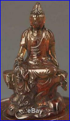 Fine Chinese Carved Optimize Amber Guan Yin Sculpture