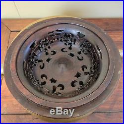 Fine Chinese Early Qing Period Carved Bronze Antique Incense Burner Wood LID