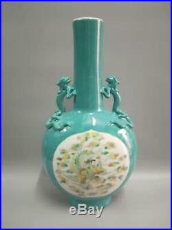 Fine Chinese Green Glaze Porcelain Figures Vases Hand-Carved With KangXi Marked