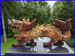 Fine Chinese Hand-Carved 11 Foo Dog Dragon Serpent Red Blood Jade (Nephrite)