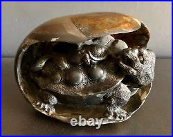 Fine Chinese Hand Carved Turtle With Baby Inside Boulder