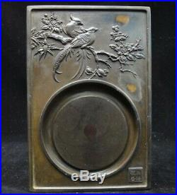Fine Chinese Old Natural Stone Hand Carving Birds Flowers Ink Stone InkSlab